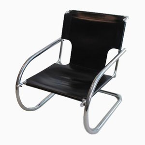 Chrome and Leather Cantilever Chair from Arrben, Italy, 1960s