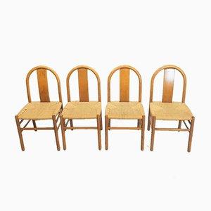Dänische Papierschnur Esszimmerstühle, 4er Set