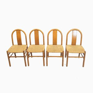 Danish Paper Cord Dining Chairs, Set of 4