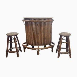 Barra Tiki vintage de caña de bambú, años 60.Juego de 3