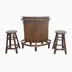 Vintage Bamboo Cane Tiki Bar, 1960s, Set of 3