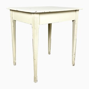 Small French Antique White Painted Table
