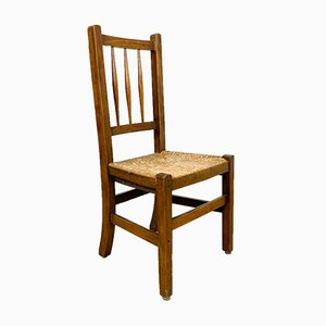 Small Antique Oak Chair with Rush Seat