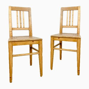 Antique Pine Wooden Chairs, Set of 2