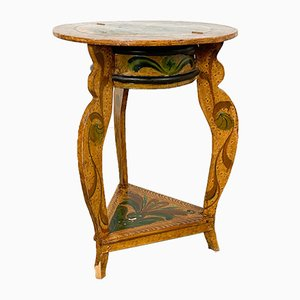 Small Round Painted Side Table with Storage, 1936