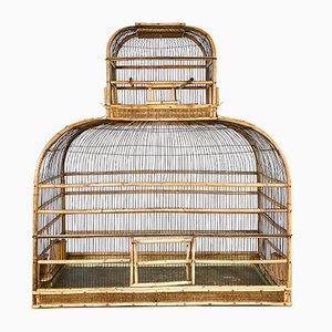 Großer Antiker Rattan Vogelkäfig, 19. Jahrhundert