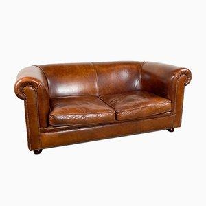 Vintage Dark Brown Sheep Leather 2-Seater Sofa