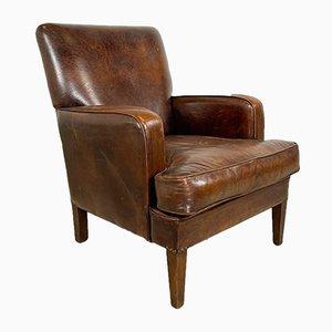 Vintage Dark Brown Sheep Leather Armchair