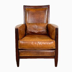 Vintage Sheep Leather Armchair with Mahogany Frame