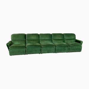 Sofá vintage de terciopelo verde. Juego de 5
