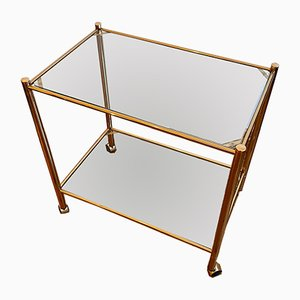 Golden Brass Bar Cart with 2 Glass Floors on Rubber-Tires
