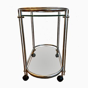 Silver Bar Cart with Glass Trays on Wheels by Gae Aulenti, 1970s