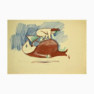 Mino Maccari, the Funnel, Original Lithograph on Paper, 1930s