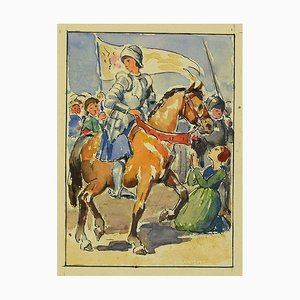 Unknown, Jeanne d'Arc, Original China Ink and Watercolor on Paper, 1940s