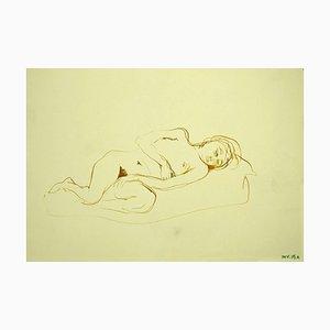 Leo Guida, Akt, Original Mixed Media Zeichnung auf Papier, 1970er