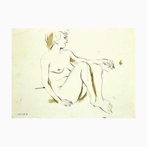 Leo Guida, Akt, Original Tinte und Tempera Zeichnung, 1970er