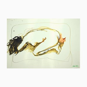 Leo Guida, Nude, Original Mixed Media Drawing on Paper, 1970s