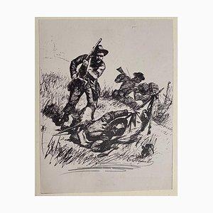 Carlo Ademollo, tireurs d'élite, lithographie originale, 1880