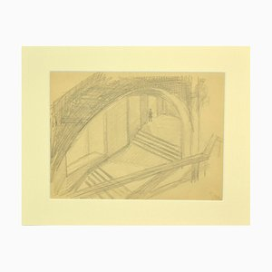Unknown, the Ladder, Original Pencil on Paper, 1880s