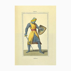 Unknown, Soldier, Original Lithograph on Paper, 19th Century