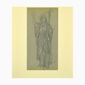 Unknown, Holy Mary, Original Pencil on Paper, 1920s