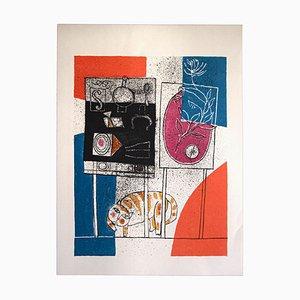 Franco Gentilini, el gato y los marcos, offset original, años 70