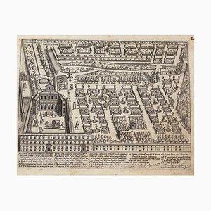 Unbekannt, Plan der Gärten von Santa Maria, Rom, Originalradierung, 17. Jahrhundert