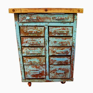 Industrial Metal Chest of Drawers with Scots Pine Top