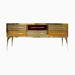 Mid Century Solid Wood and Colored Glass Italian Sideboard