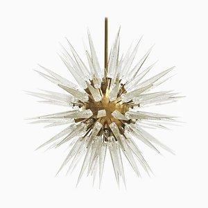 Mid Century Sputnik Murano Glass and Brass Italian Chandelier