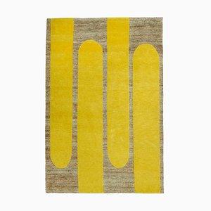 Rectangular Wool and Jute Lemon Popsycle Indian Carpet by Helena Rohner