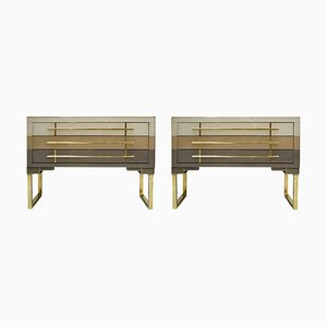 Mid-Century Modern Style Murano Glass and Brass Italian Commodes, Set of 2