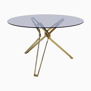 Dutch Modern Brass and Fumé Glass Circular Table