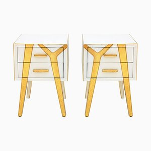 Italian Solid Wood and Glass Bedside Tables from LA Studio, Set of 2