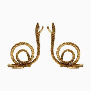 Mid-Century Style Italian Bronze Candelabras, Set of 2