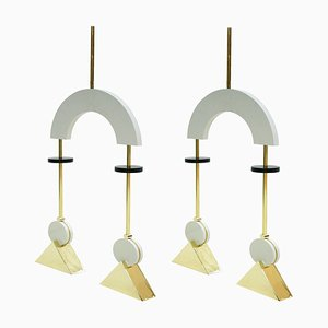 Mid-Century Modern Style White Lacquered Wood and Bronze Pendant Lamps, Set of 2