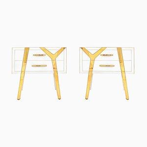 Italienische Massive Holz und Glas Nachttische von LA Studio, 2er Set