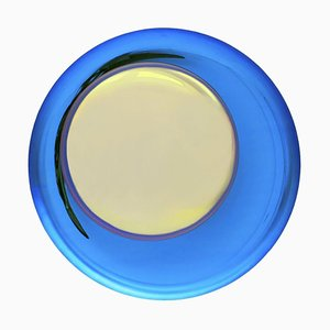 French Modern Sculptural Concave Handmade Yellow and Blue Glass Mirror