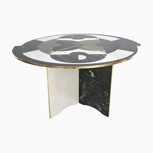 Mid-Century Modern Italian Circular Marble and Brass Table from LA Studio