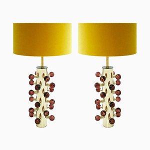 Italienische Mid-Century Modern Messing & Murano Glas Tischlampen, 2er Set
