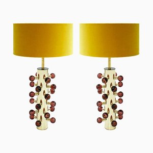 Mid-Century Modern Style Italian Brass and Murano Glass Table Lamps, Set of 2