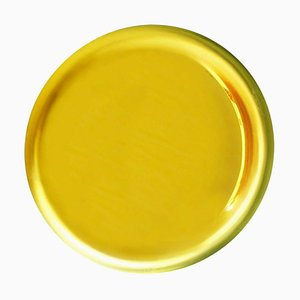 French Modern Sculptural Concave Yellow Glass Mirror