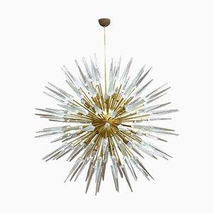 Italienischer Mid-Century Modern Sputnik Kronleuchter aus Muranoglas & Messing