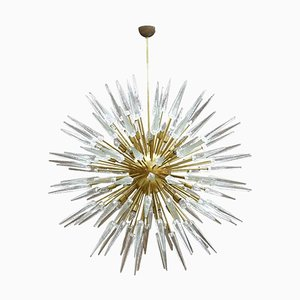 Mid-Century Italian Modern Style Sputnik Murano Glass and Brass Chandelier