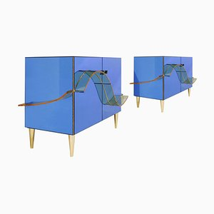 Italian Blue Murano Glass Mirror and Brass Cabinets, Set of 2