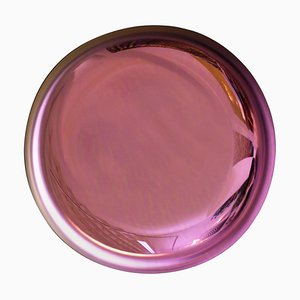 Französischer Moderner Skulpturaler Konkaver Rosa Glas Spiegel