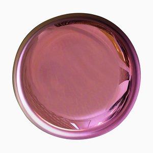 Französischer moderner skulpturaler konkaver rosa Glasspiegel