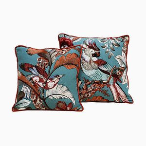 Spanish Modern Square Pattern Linen Scatter Cushions, Set of 2