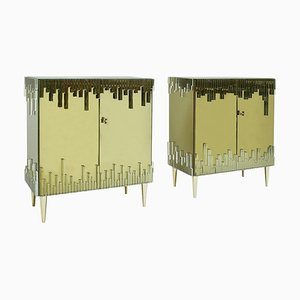 Mid-Century Italian Modern Style Glass and Golden Cabinets, Set of 2