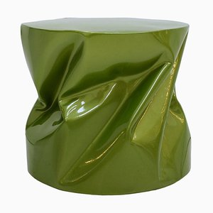 Modern Sculptural Metal Lacquered Green Side Table or Seat